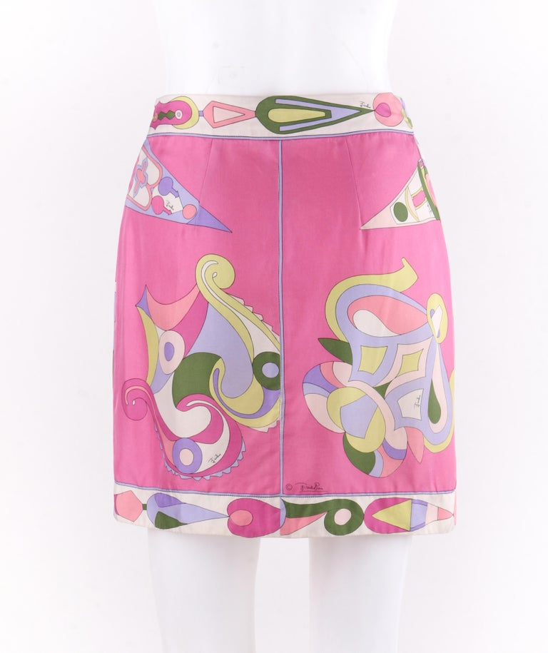 EMILIO PUCCI c.1970's Pink Multi-color Signature Print Silk Wrap Skirt   In Good Condition For Sale In Thiensville, WI