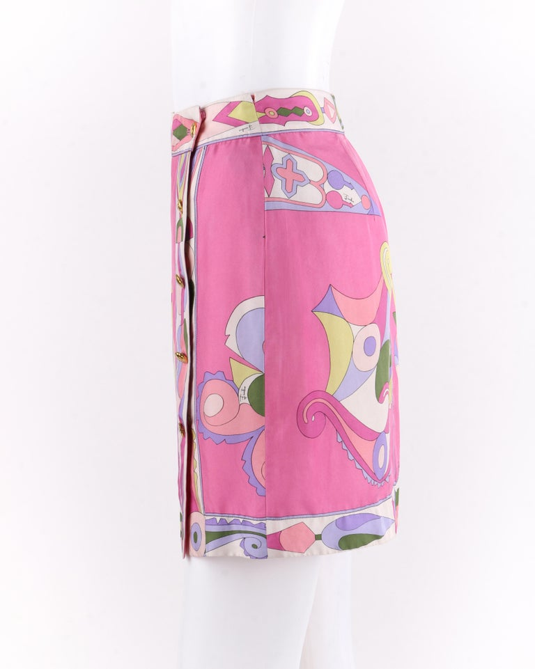 Women's EMILIO PUCCI c.1970's Pink Multi-color Signature Print Silk Wrap Skirt   For Sale