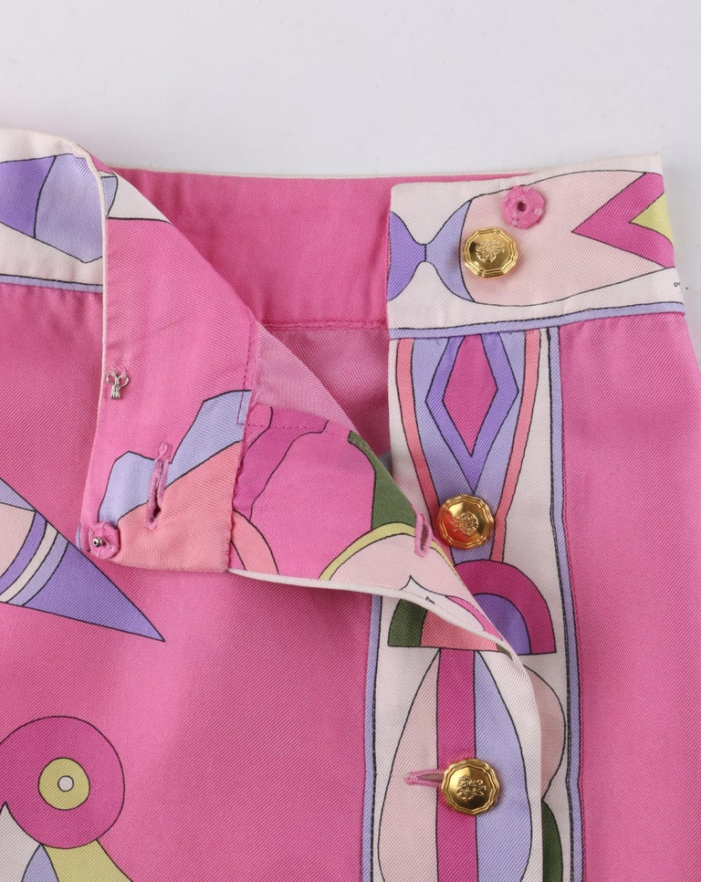 EMILIO PUCCI c.1970's Pink Multi-color Signature Print Silk Wrap Skirt   For Sale 1
