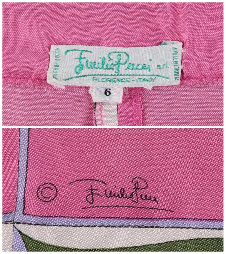 EMILIO PUCCI c.1970's Pink Multi-color Signature Print Silk Wrap Skirt   For Sale 2