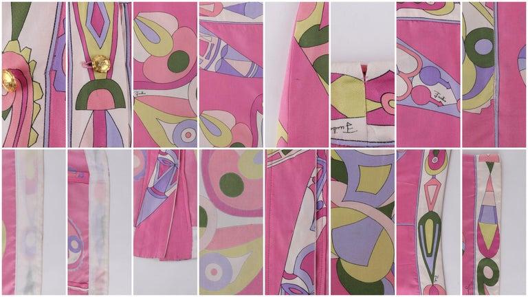 EMILIO PUCCI c.1970's Pink Multi-color Signature Print Silk Wrap Skirt   For Sale 3