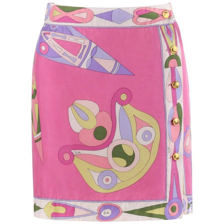 EMILIO PUCCI c.1970's Pink Multi-color Signature Print Silk Wrap Skirt   For Sale