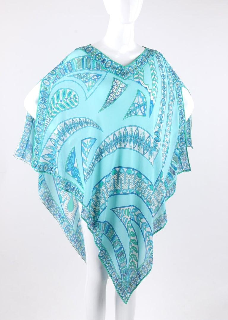 Blue EMILIO PUCCI c1970s Signature Print Silk Chiffon Beach Cover Poncho Scarf Blouse For Sale