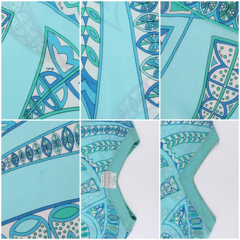 EMILIO PUCCI c1970s Signature Print Silk Chiffon Beach Cover Poncho Scarf Blouse For Sale 3