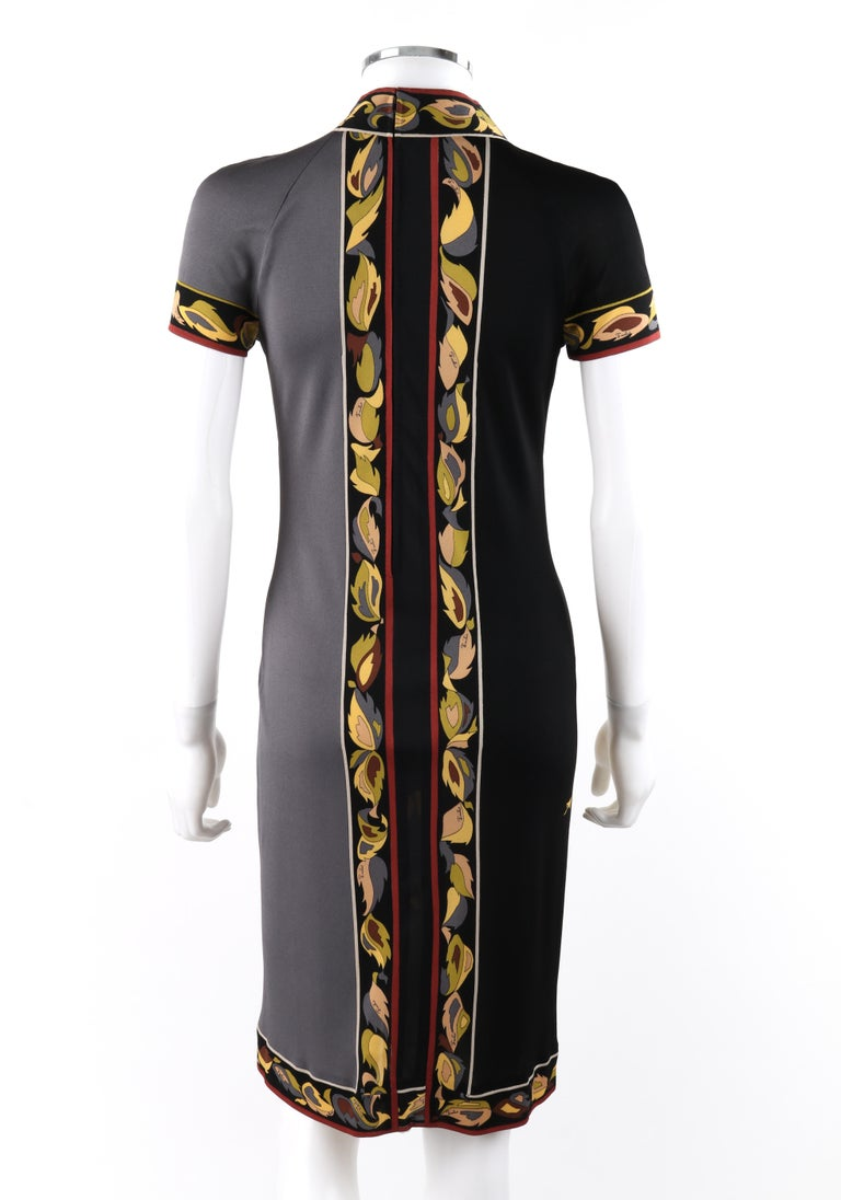 EMILIO PUCCI c.1970's Silk Jersey Dual Tone Multi-Color Rose Floral Shift Dress In Good Condition For Sale In Thiensville, WI