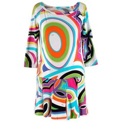 Emilio Pucci Cotton Jersey Print Long Sleeve Mini Dress - Size US 6