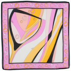 Emilio Pucci Cotton Scarf Abstract Print in Pink and Orange
