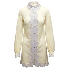 Emilio Pucci Cream Lace-Trimmed Pajama Top