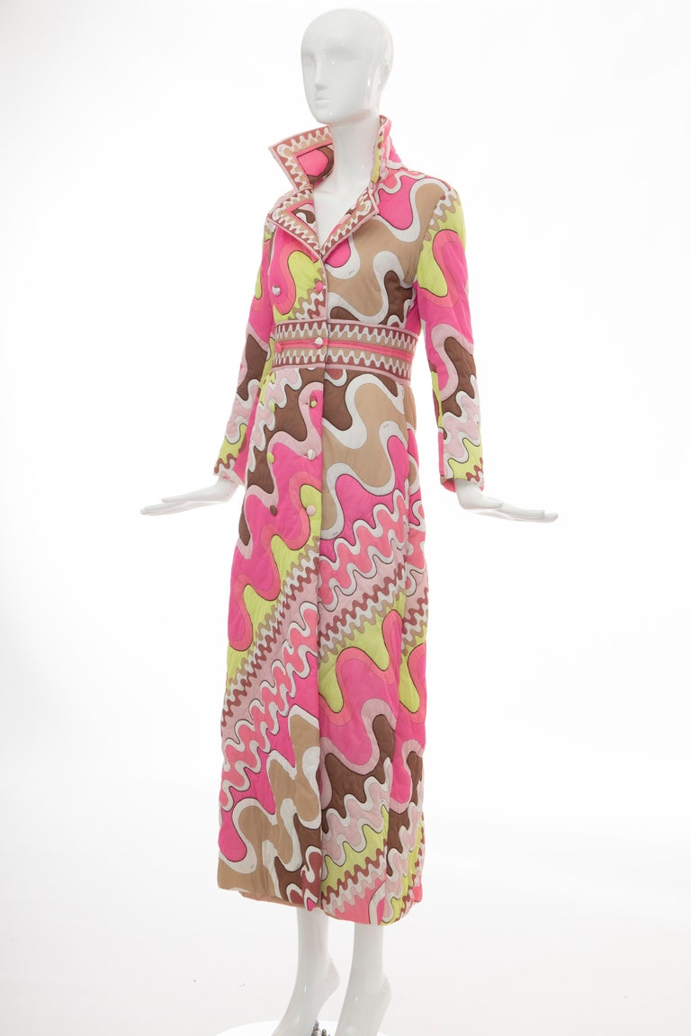 Emilio Pucci Double-Breasted Abstract Print Quilted Coat, Circa: 1970's 5