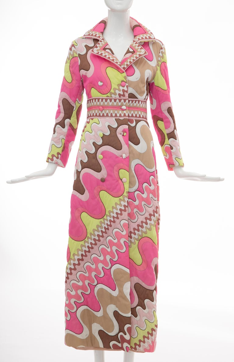Emilio Pucci Double-Breasted Abstract Print Quilted Coat, Circa: 1970's 6