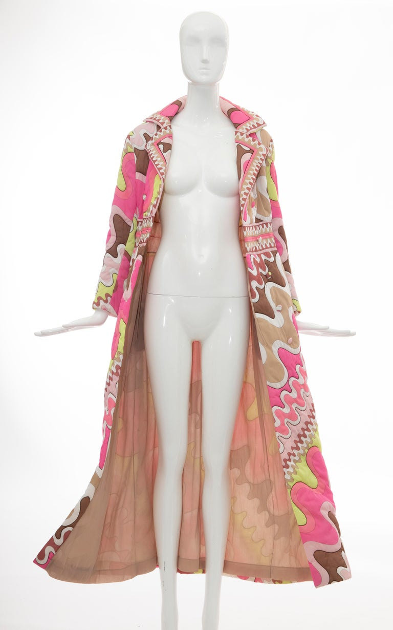 Emilio Pucci Double-Breasted Abstract Print Quilted Coat, Circa: 1970's 7