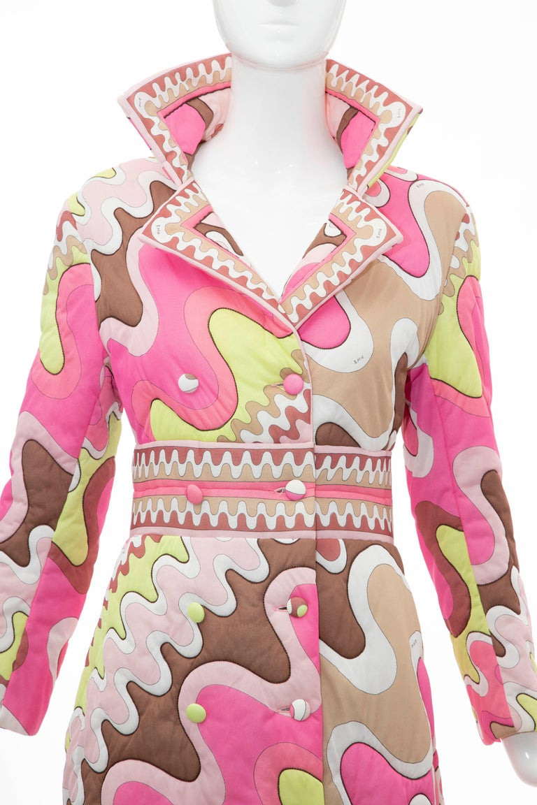 Brown Emilio Pucci Double-Breasted Abstract Print Quilted Coat, Circa: 1970's