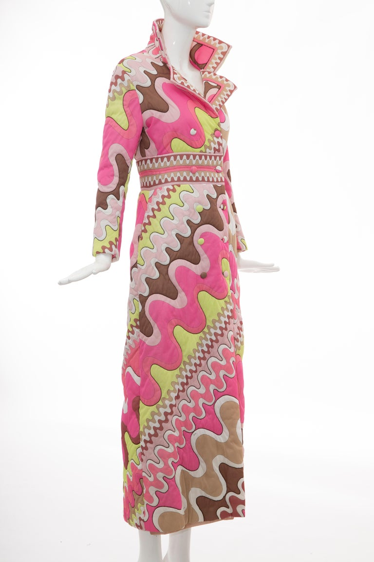 Emilio Pucci Double-Breasted Abstract Print Quilted Coat, Circa: 1970's In Excellent Condition In Cincinnati, OH