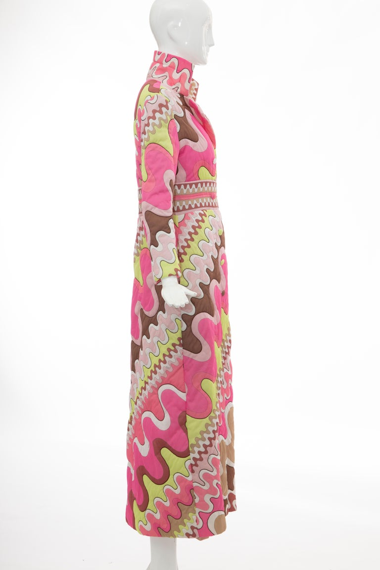 Women's Emilio Pucci Double-Breasted Abstract Print Quilted Coat, Circa: 1970's