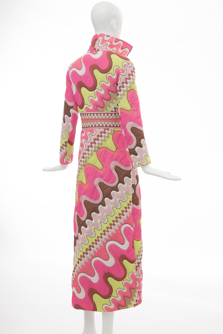 Emilio Pucci Double-Breasted Abstract Print Quilted Coat, Circa: 1970's 1