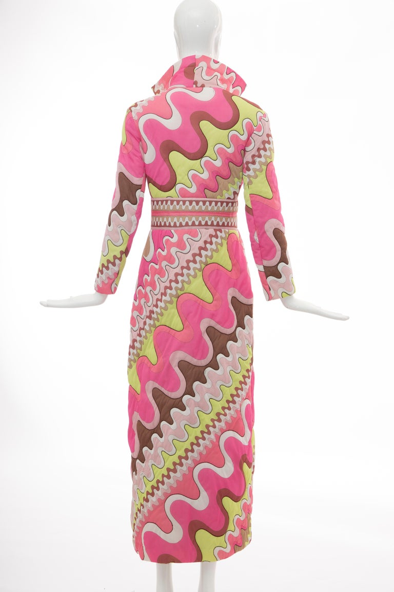 Emilio Pucci Double-Breasted Abstract Print Quilted Coat, Circa: 1970's 2