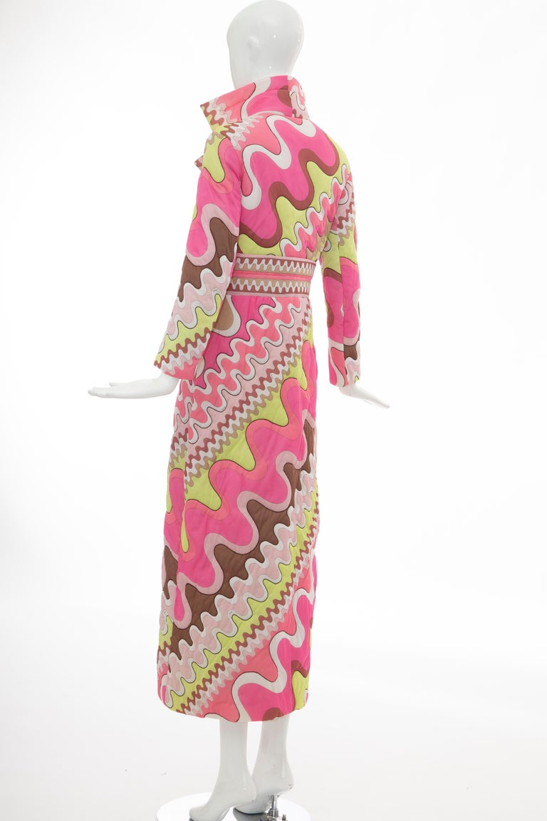 Emilio Pucci Double-Breasted Abstract Print Quilted Coat, Circa: 1970's 3