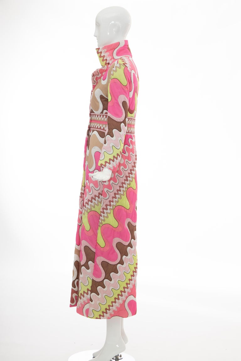 Emilio Pucci Double-Breasted Abstract Print Quilted Coat, Circa: 1970's 4