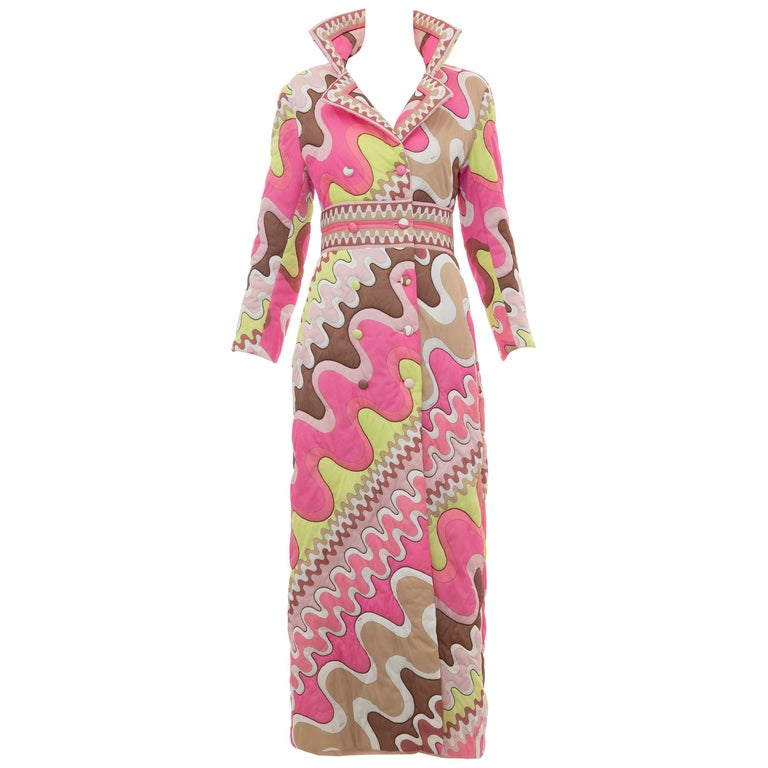 Emilio Pucci Double-Breasted Abstract Print Quilted Coat, Circa: 1970's