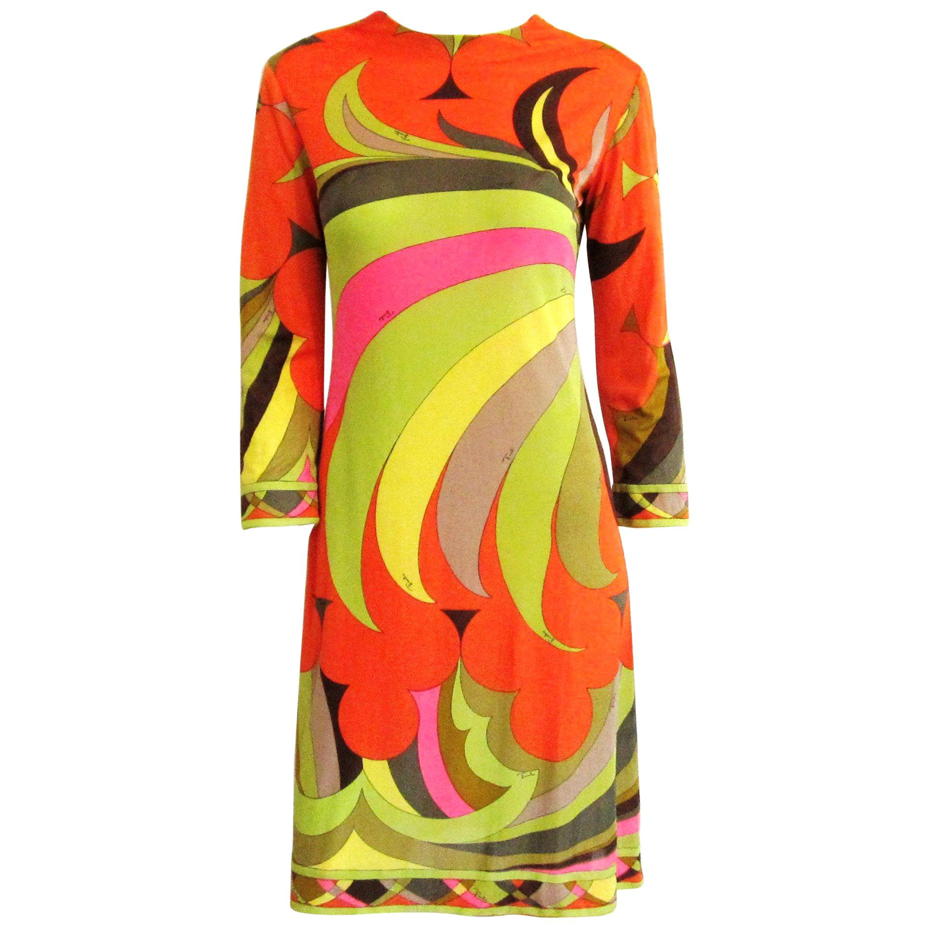 EMILIO PUCCI Dress Multi color Silk Long Sleeve Mod Print 1960s XS Small Vintage