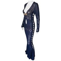 Emilio Pucci Embellished Cutout Crochet Open Knit Navy Dress