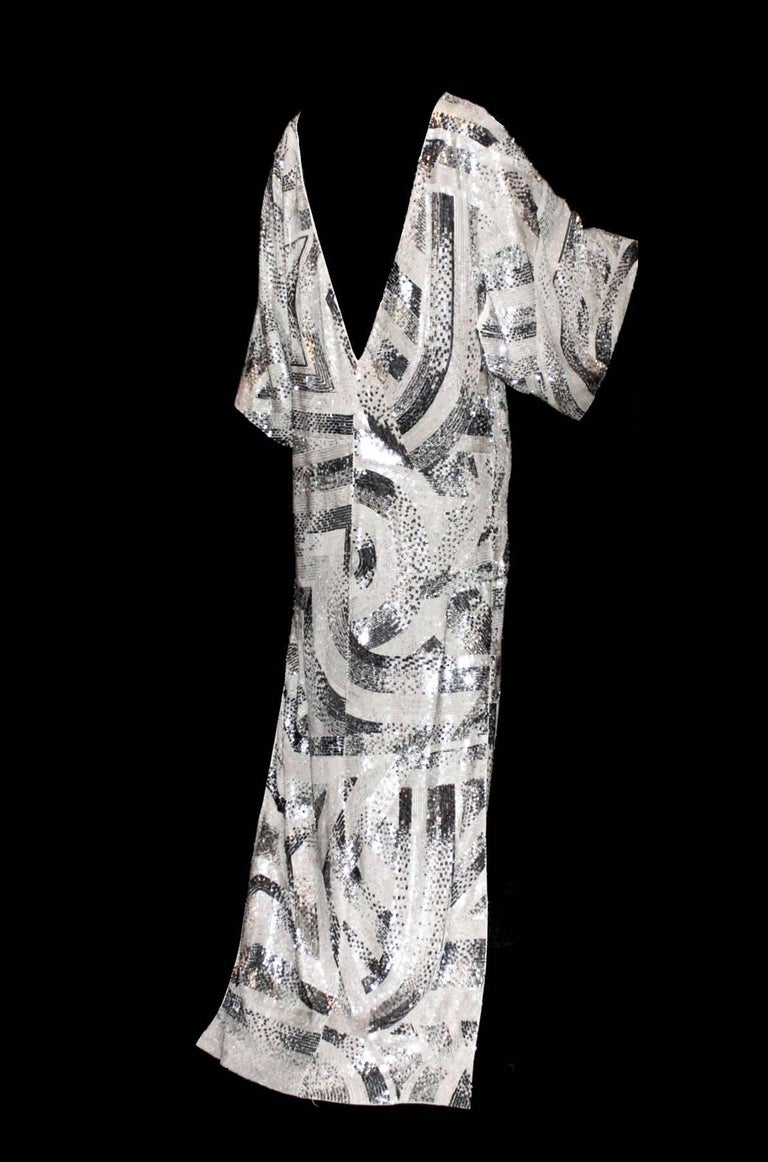 Women's NEW Emilio Pucci Embroidered Silk Sequin Evening Kaftan Maxi Dress Gown  For Sale
