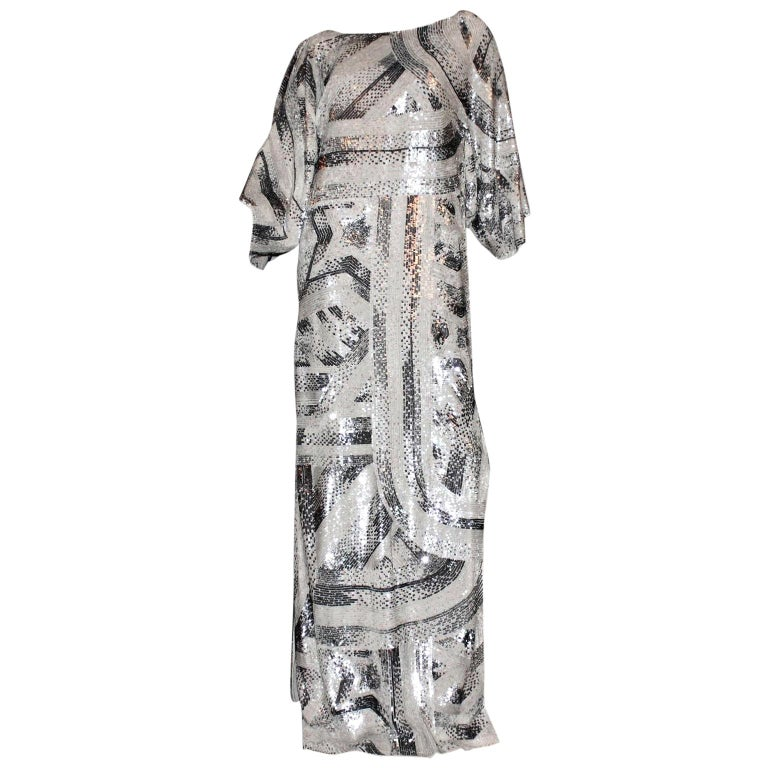 Emilio Pucci Embroidered Silk Evening Caftan Maxi Dress Gown  For Sale