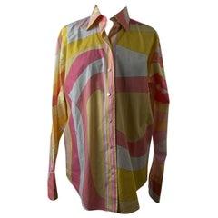 Emilio Pucci Emilio Pucci Vintage Iconic Print Pink Yellow Cotton Button Down