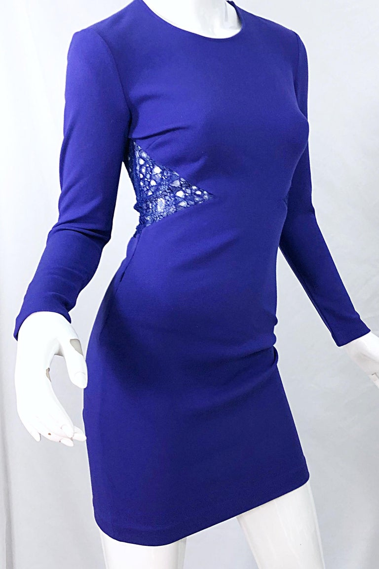 Emilio Pucci Fall 2012 Purple Rayon Lace Cut Out Long Sleeve Bodycon Dress For Sale 6