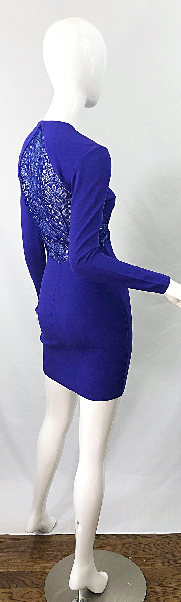 Women's Emilio Pucci Fall 2012 Purple Rayon Lace Cut Out Long Sleeve Bodycon Dress For Sale