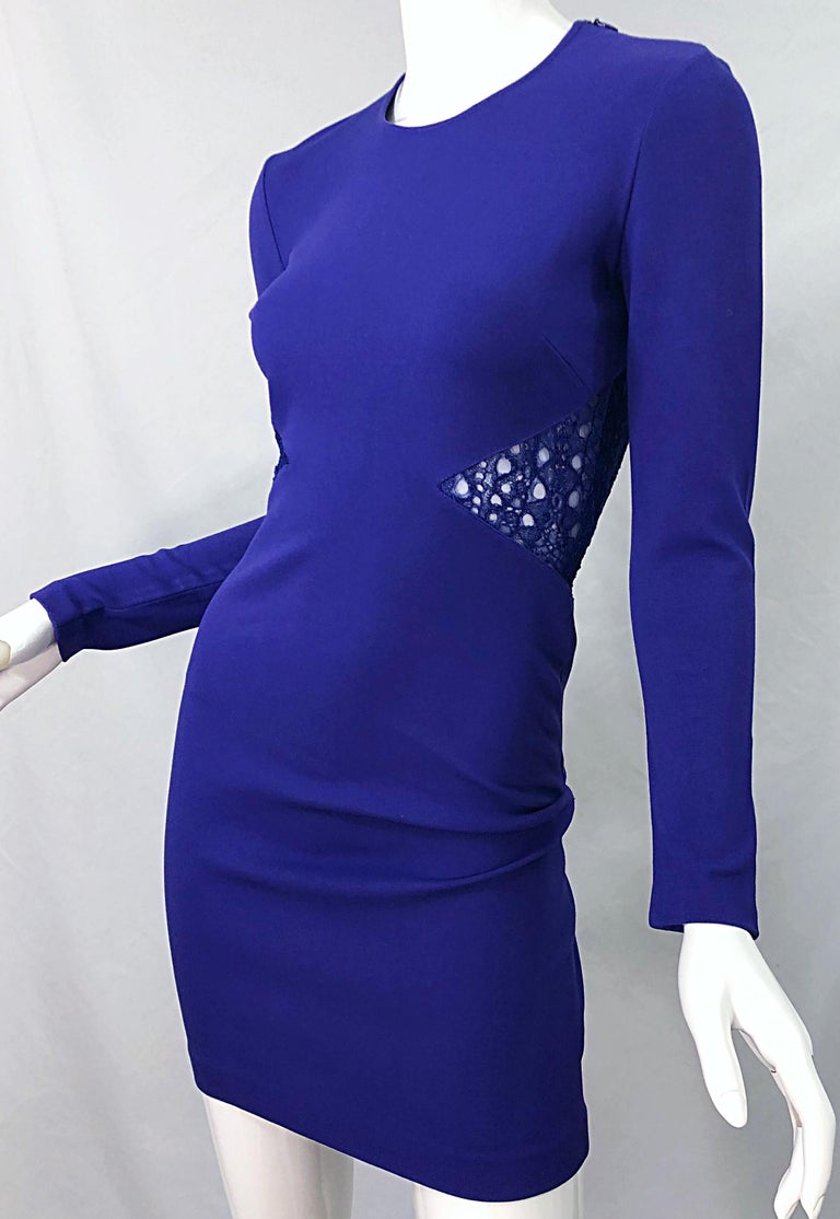 Emilio Pucci Fall 2012 Purple Rayon Lace Cut Out Long Sleeve Bodycon Dress For Sale 1