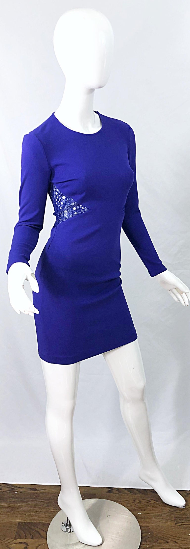 Emilio Pucci Fall 2012 Purple Rayon Lace Cut Out Long Sleeve Bodycon Dress For Sale 2