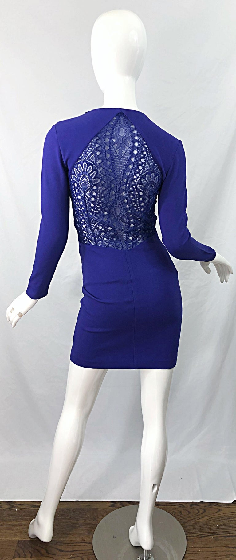 Emilio Pucci Fall 2012 Purple Rayon Lace Cut Out Long Sleeve Bodycon Dress For Sale 4