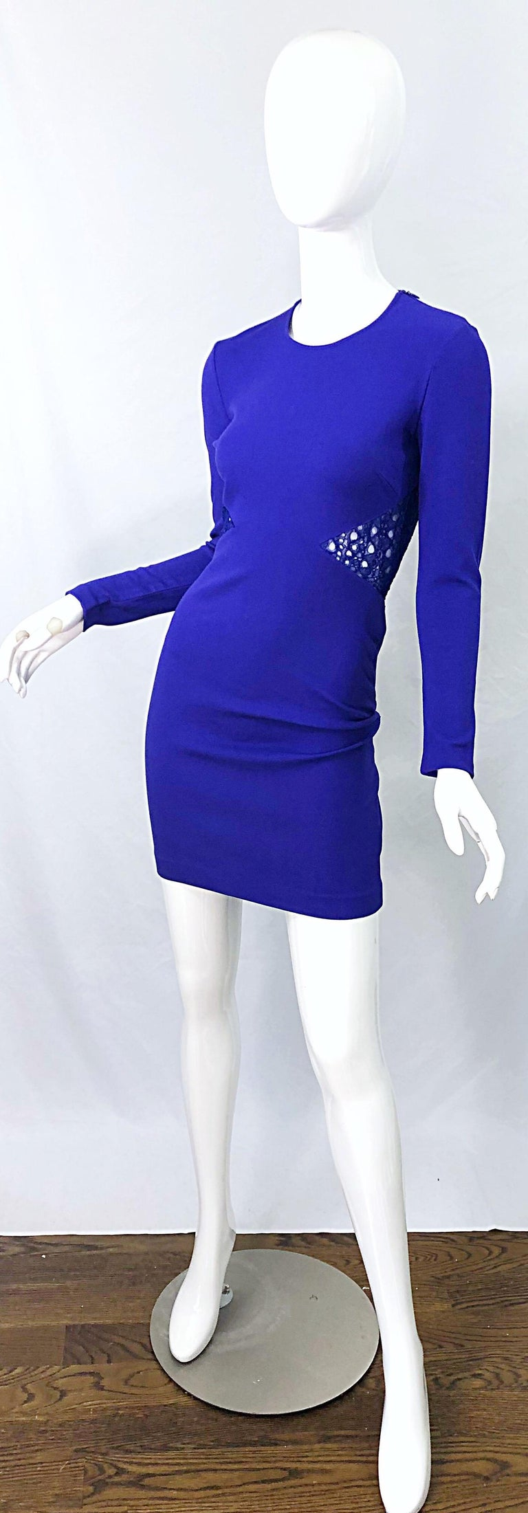 Emilio Pucci Fall 2012 Purple Rayon Lace Cut Out Long Sleeve Bodycon Dress For Sale 5
