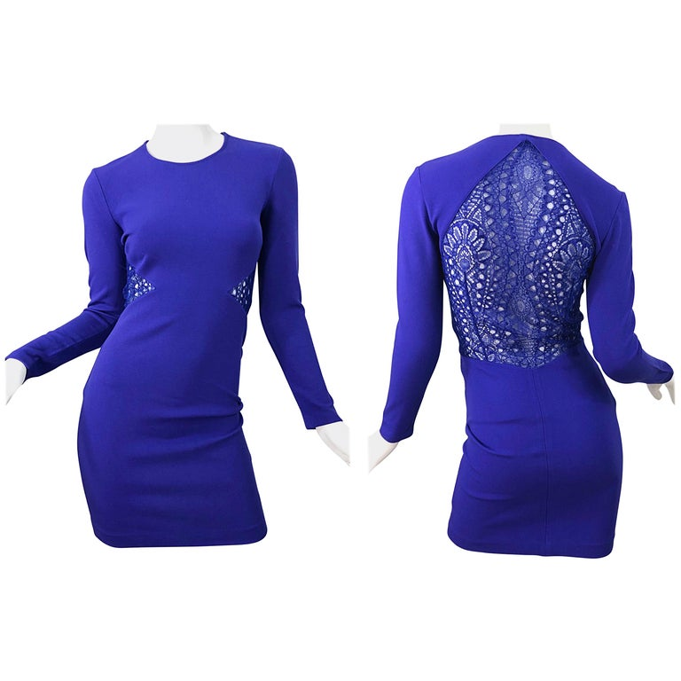 Emilio Pucci Fall 2012 Purple Rayon Lace Cut Out Long Sleeve Bodycon Dress For Sale