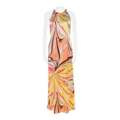 Emilio Pucci Firenze Multicolor Abstract Print Silk Maxi Halter Dress M