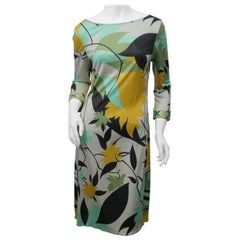 Emilio Pucci Firenze size 41 Green Blue Leaf Print Dress