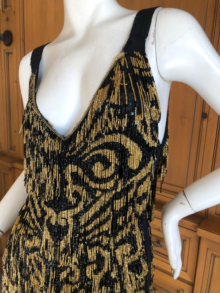 Women's Emilio Pucci Flapper Style Black & Gold Glass Bead Fringed Mini Dress New / Tags For Sale