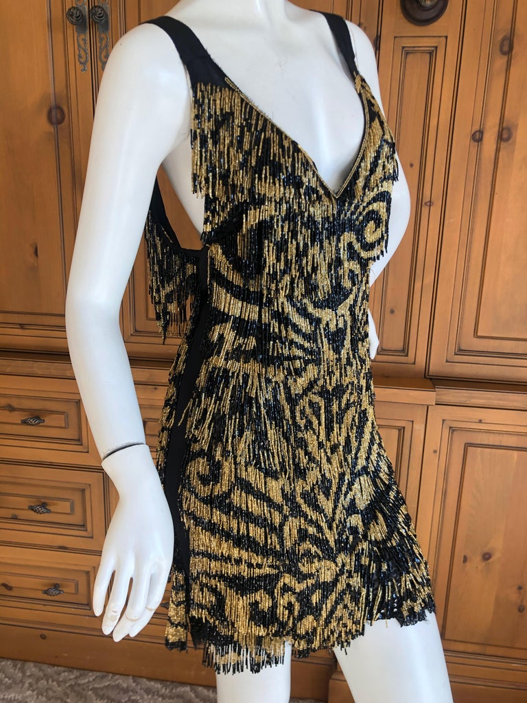 Emilio Pucci Flapper Style Black & Gold Glass Bead Fringed Mini Dress New / Tags For Sale 1