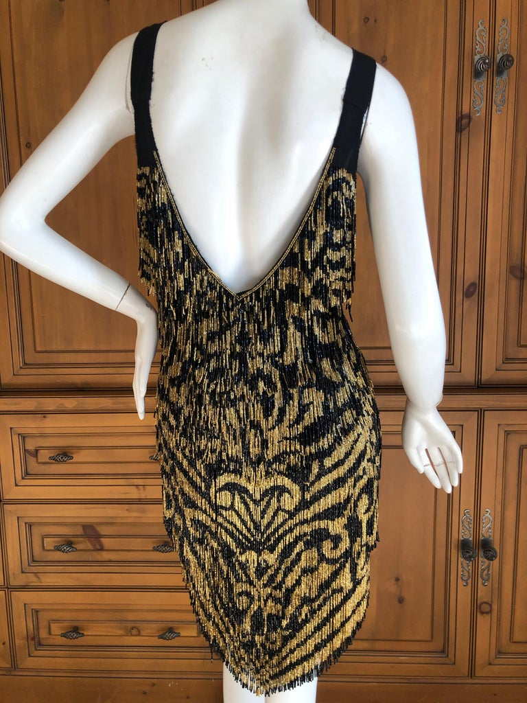Emilio Pucci Flapper Style Black & Gold Glass Bead Fringed Mini Dress New / Tags For Sale 3