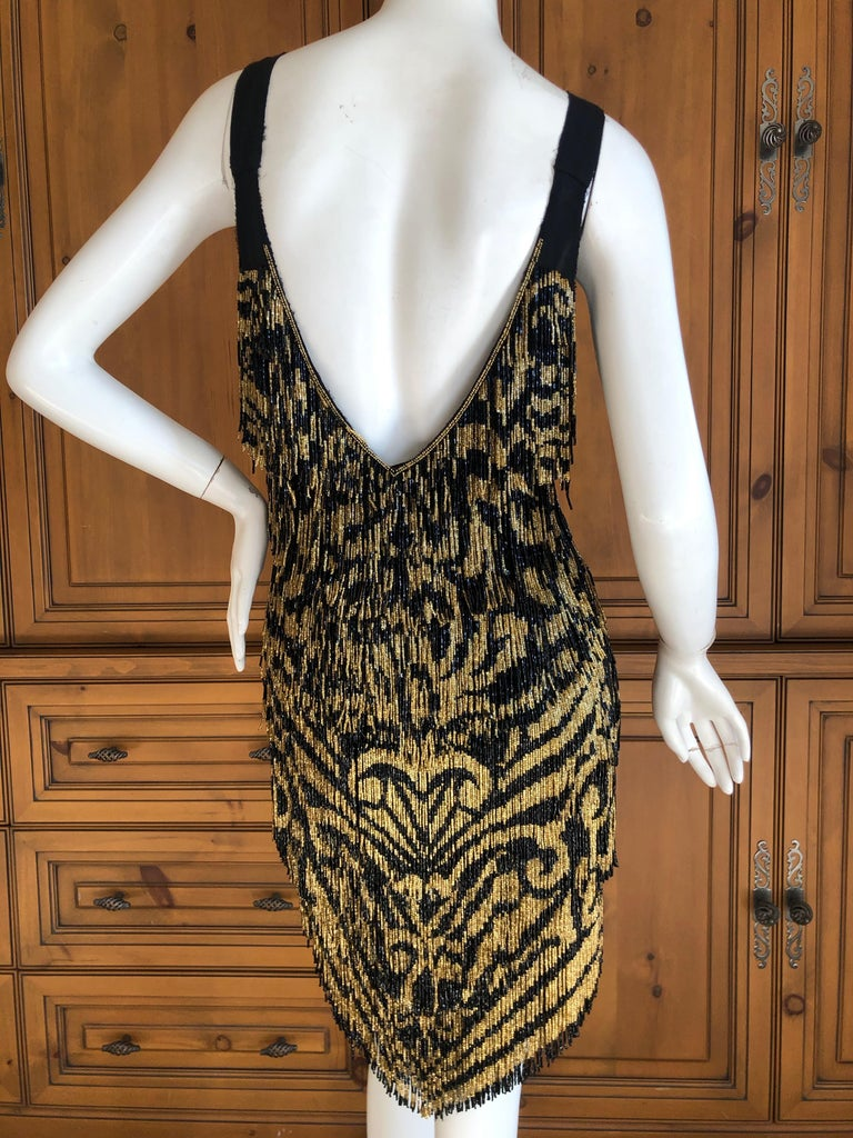 Emilio Pucci Flapper Style Black & Gold Glass Bead Fringed Mini Dress New / Tags For Sale 4