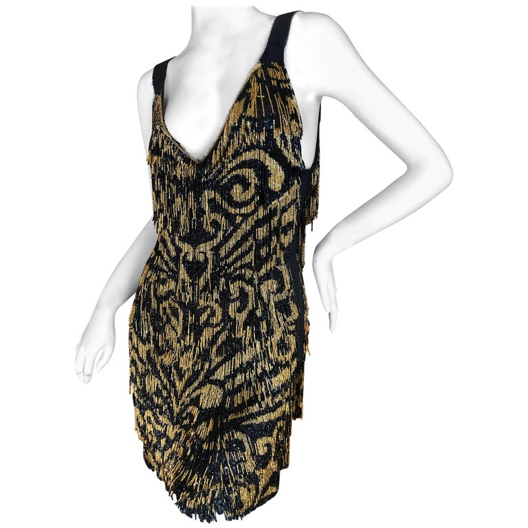 Emilio Pucci Flapper Style Black & Gold Glass Bead Fringed Mini Dress New / Tags For Sale