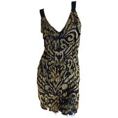 Emilio Pucci Flapper Style Black & Gold Glass Bead Fringed Mini Dress New / Tags