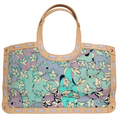 EMILIO PUCCI Floral Canvas Signature Print & Leather Shoulder Hand Bag Tote