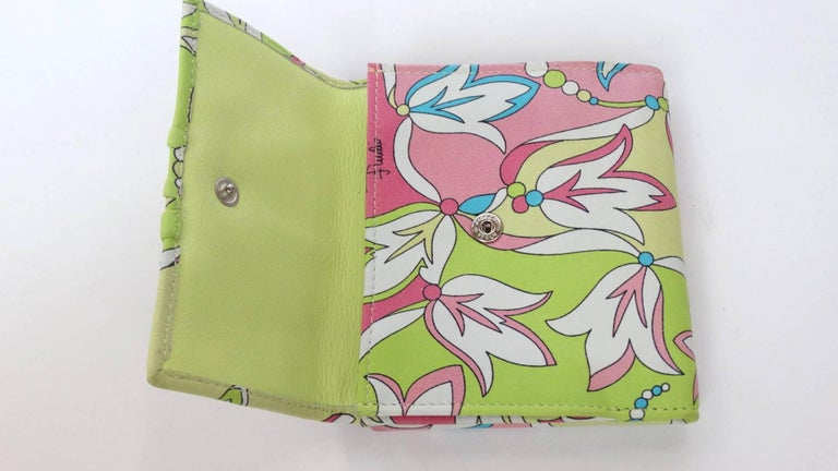 Green Emilio Pucci Floral Print Leather Wallet For Sale