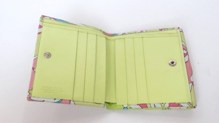 Emilio Pucci Floral Print Leather Wallet In Excellent Condition For Sale In Scottsdale, AZ