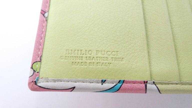 Women's or Men's Emilio Pucci Floral Print Leather Wallet For Sale