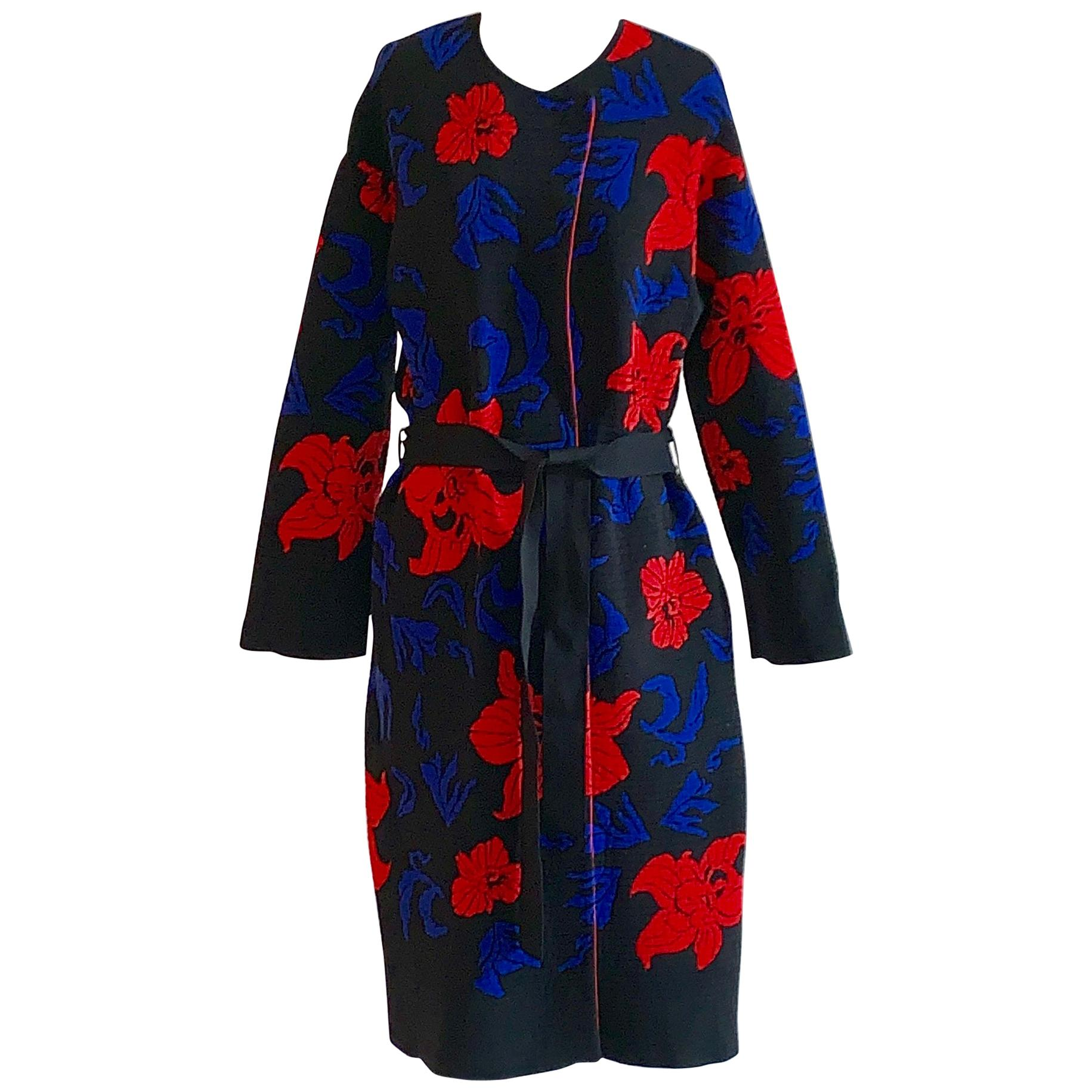 Emilio Pucci Floral Rib Knit Sweater Coat in Black, Blue and Red