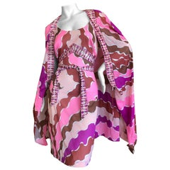 Emilio Pucci for Formfit Rogers Colorful Vintage 1960's Nightgown Dress and Robe