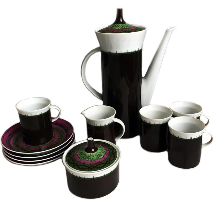 Emilio Pucci for Rosenthal 13pc Espresso Coffee Service Porcelain China 60s Rare For Sale 7